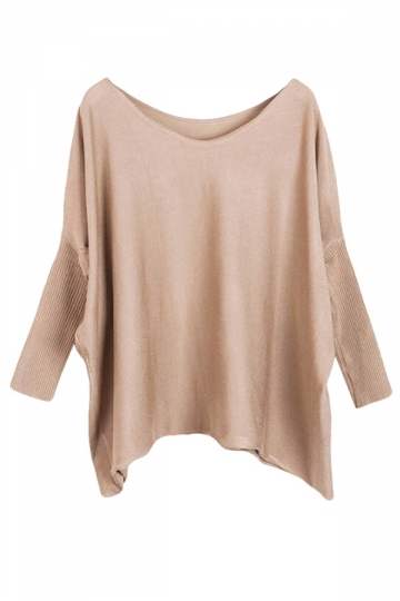 Womens Plain Loose Slash Neck Batwing Sleeve Sweater Khaki