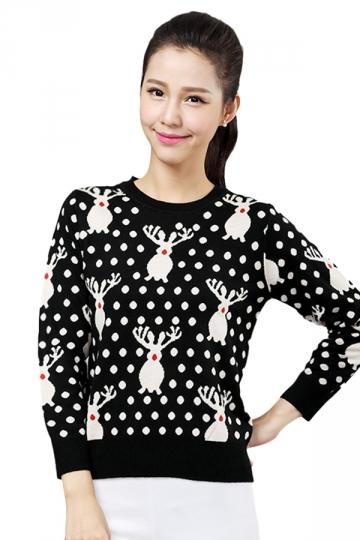 Womens Crewnwck Reindeer Pullover Christmas Ugly Sweater Black