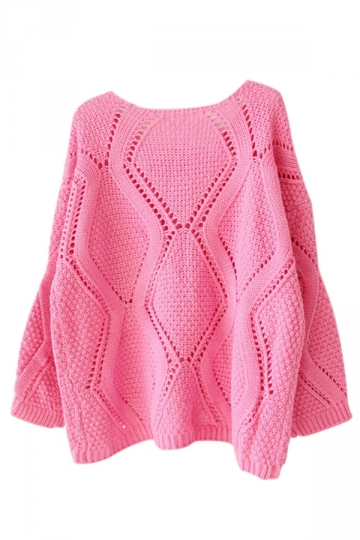 Womens Plain Crewneck Hollow Out Long Sleeve Knitted Sweater Rose Red
