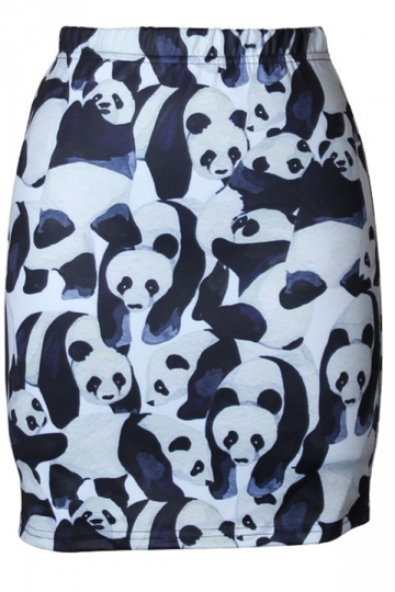 Womens Slimming Panda Digital Printed Pencil Skirt Black