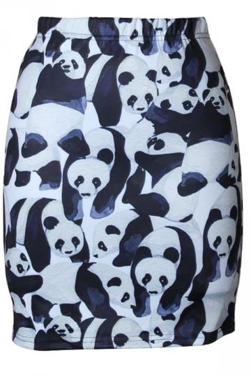 Womens Slimming Panda Digital Printed Pencil Skirt Black