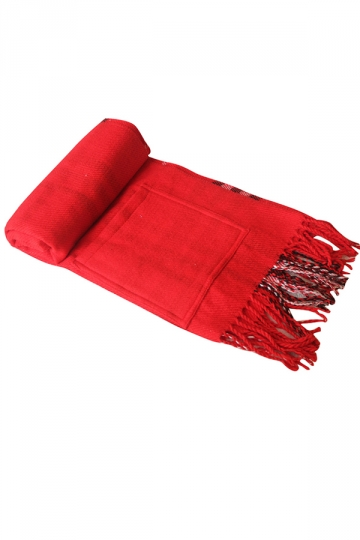 Womens Fashion Fringe Plaid Shawl Cape Scarf Red