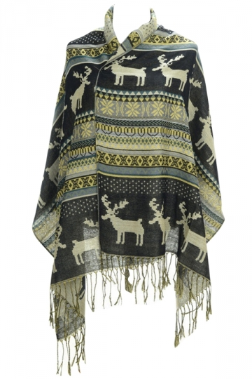 Womens Fringe Reindeer Pattern Christmas Shawl Wrap Scarf Black