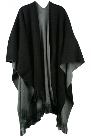 Womens Simple Fringe Shawl Wrap Poncho Gray