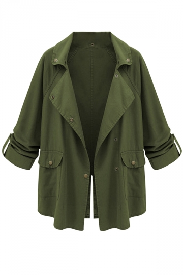 Womens Casual Notch Lapel Back Slit Trench Coat Military Green