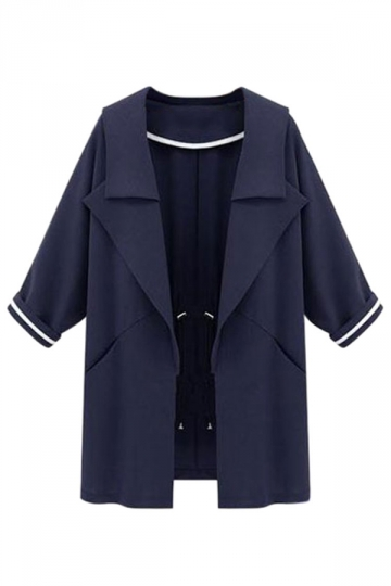 Womens Turndown Collar Nine Point Sleeve Trench Coat Navy Blue
