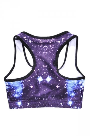 Womens Wireless Galaxy Printed Sports Crop Top Purple