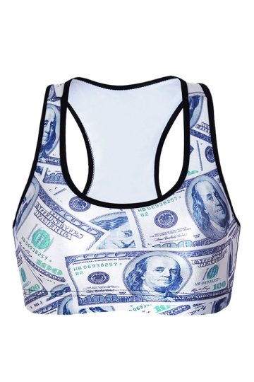 Womens Money Printed Wireless Sports Bra White