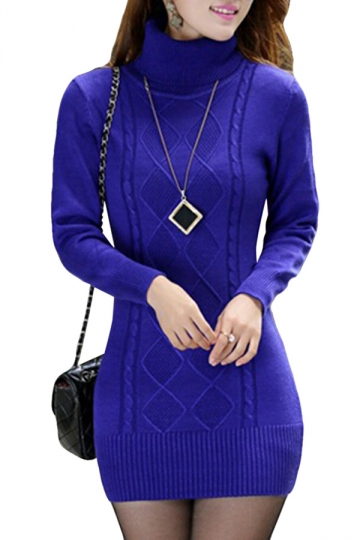 Womens Turtle Neck Long Sleeve Pullover Sweater Dress Sapphire Blue