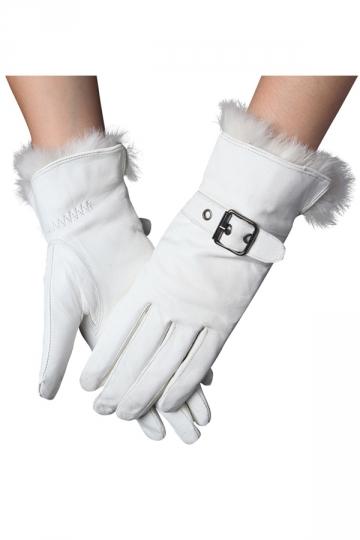 Womens Elegant Rabbit Hair Buckled Winter Gloves White
