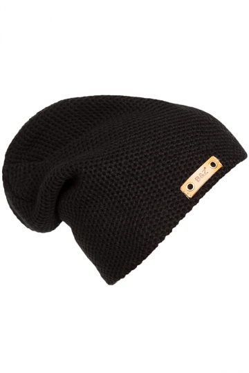 Womens Casual Hip-Pop Knitted Beanie Hat Black