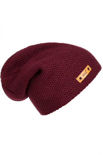 Womens Casual Hip-Pop Knitted Beanie Hat Ruby