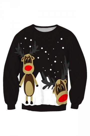 Womens Crew Neck Reindeer Printed Pullover Christmas Sweatshirt Black
