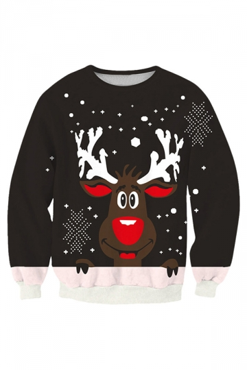 Womens Cute Reindeer Printed Pullover Christmas Sweatshirt Black