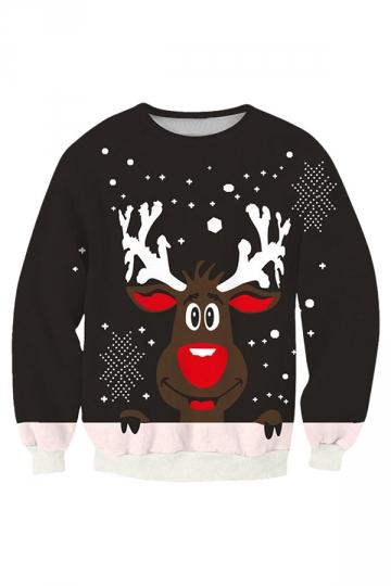Womens Cute Reindeer Printed Pullover Christmas Sweatshirt Black