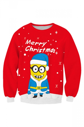 Womens Crew Neck Christmas Minions Printed Pullover Sweatshirt Red