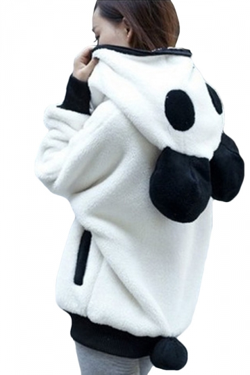 Womens Cute Hooded Long Sleeve Panda Sweatshirt White