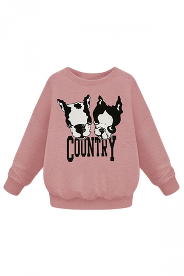 Womens Plus Size Dogs Printed Long Sleeve Sweatshirt Pink
