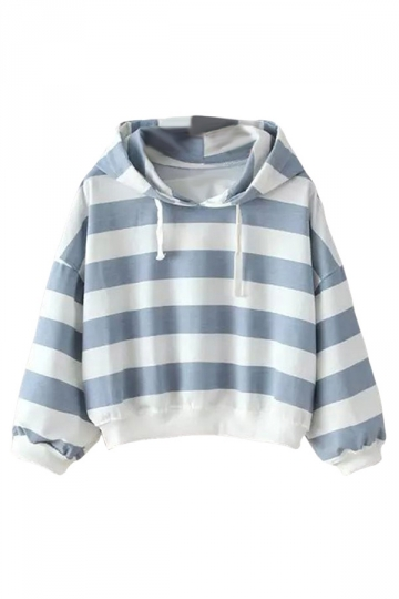Womens Casual Striped Hooded Short Pullover Sweatshirt Blue
