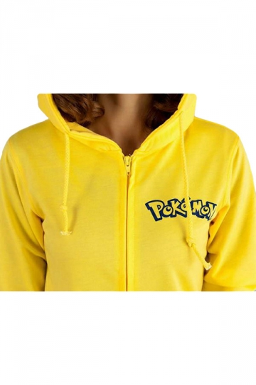 Womens Cute Pikachu Printed Zipper Front Long Sleeve Hoodie Yellow