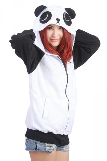 Womens Cute Panda Printed Zipper Front Long Sleeve Hoodie Black