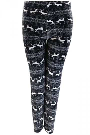 Womens Warm Lined Reindeer Patterned Christmas Leggings Black