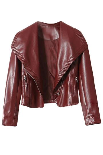 Womens Pretty Turndown Collar Zipper Short Jacket Ruby