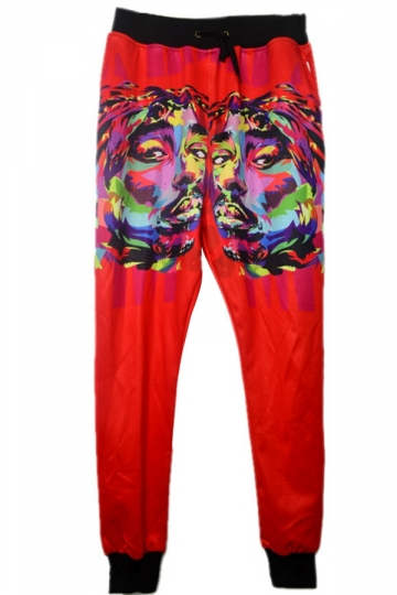 Womens Hip-pop 2pac Printed Leisure Sweatpants Red