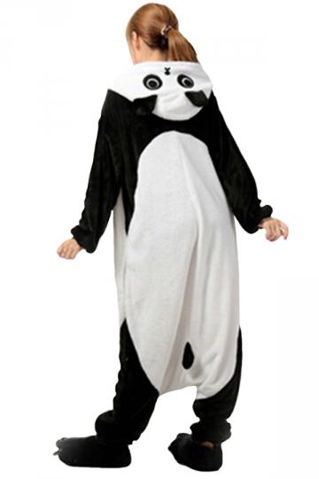 Womens Hooded Panda Pajamas Onesies Animal Costume Black