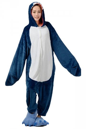 Womens Hooded Shark Pajamas Onesies Animal Costume Blue