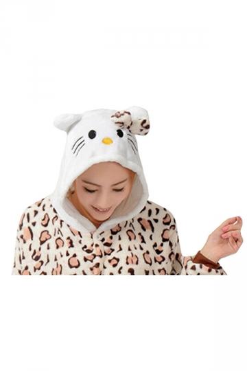 Womens Hooded Kitty Pajamas Onesies Animal Costume Chestnut