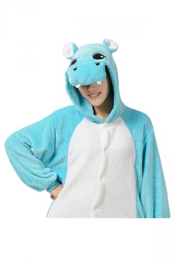 Womens Hooded Hippo Pajamas Onesies Animal Costume Blue