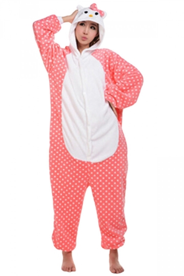 Womens Hooded Hello Kitty Pajamas Onesies Animal Costume Pink