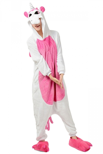 Womens Hooded Unicorn Pajamas Onesies Animal Costume Rose Red