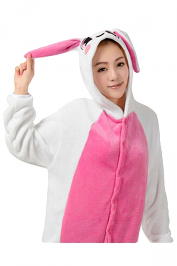 Womens Hooded Rabbit Pajamas Onesies Animal Costume Rose Red