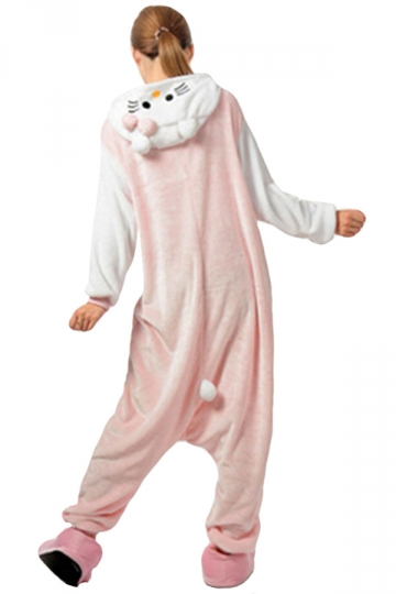Womens Hooded Onesies Rabbit Pajamas Animal Costume Pink