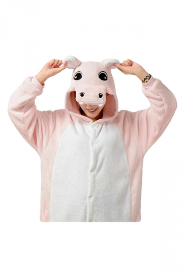 Womens Hooded Hippo Pajamas Onesies Animal Costume Pink
