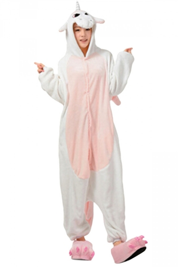 Womens Hooded Onesies Unicorn Pajamas Animal Costume Pink