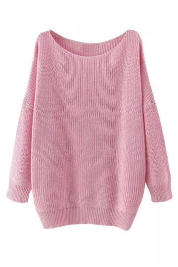 Womens Casual Slash Neck Long Sleeve Pullover Sweater Pink