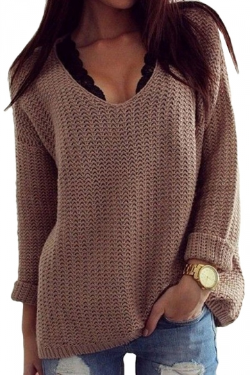 Womens Retro V Neck Long Sleeve Sweater Coffee