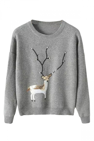 Womens Crewneck Deer Pattern Beaded Pullover Sweater Gray