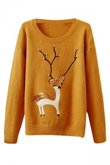 Womens Crewneck Deer Pattern Beaded Pullover Sweater Yellow