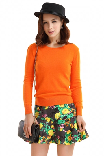 Womens Crewneck Long Sleeve Pullover Sweater Orange