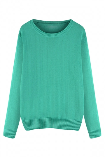 Womens Plus Size Crewneck Long Sleeve Sweater Green