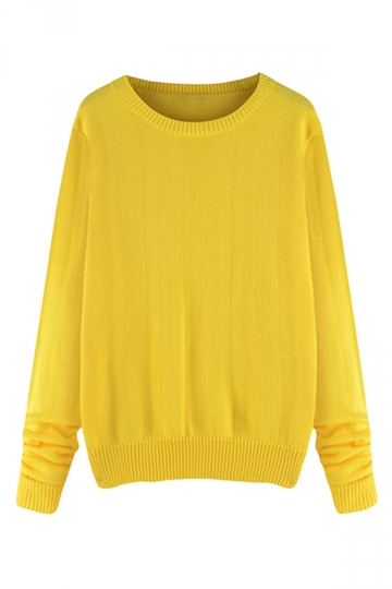 Womens Plus Size Crewneck Long Sleeve Sweater Yellow