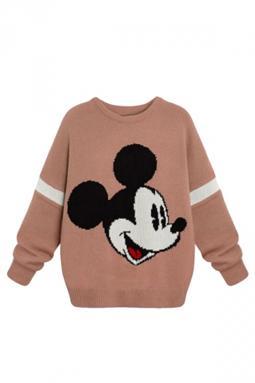 Womens Plus Size Mickey Printed Pullover Crochet Sweater Pink