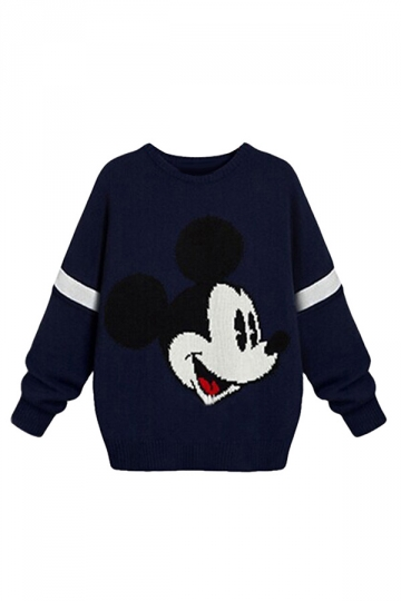 Womens Plus Size Mickey Printed Pullover Crochet Sweater Navy Blue