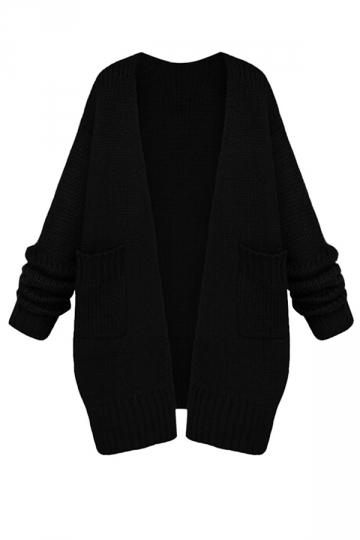 Womens Casual Long Sleeve Cardigan Sweater Coat Black