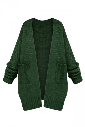 Womens Casual Long Sleeve Cardigan Sweater Coat Green
