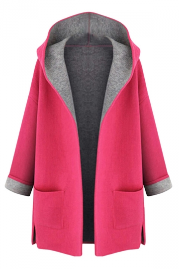 Womens Plus Size Hooded Long Sleeve Sweater Coat Rose Red